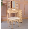 Vanities Traditional Cottage Style Vanity with Hand Painting and Stool with Fabric Seat