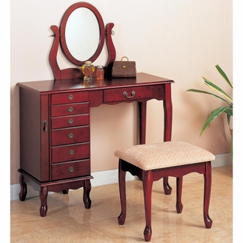 Vanities Traditional Vanity and Stool with Fabric Seat