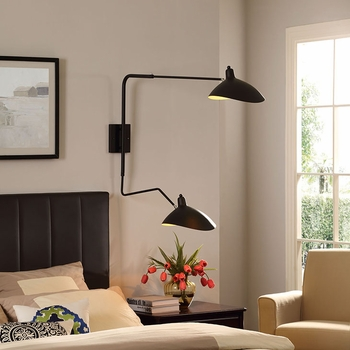 VIEW DOUBLE FIXTURE WALL LAMP IN BLACK 1590
