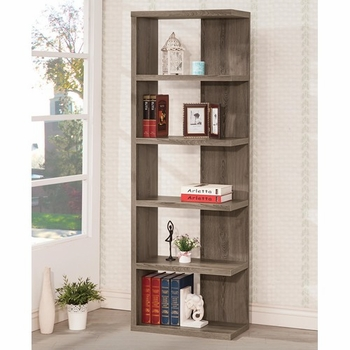 Weathered Grey Semi-Backless Bookcase