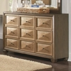 Wheatland 9 Drawer Dresser with Gold Drawer Fronts