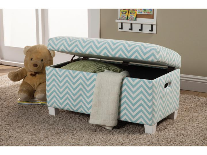 youth seating and storage upholstered storage bench in blue zig zag