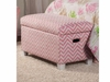 Youth Seating and Storage Upholstered Storage Bench in Pink Zig Zag