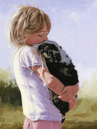 """Adeline Halvorson Handsigned and Numbered Limited Giclee Edition: """"Safe In Your Arms"""""""