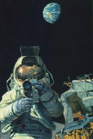 "Alan Bean Limited Edition Lithograph Print on Paper :""Moon Rovers"""