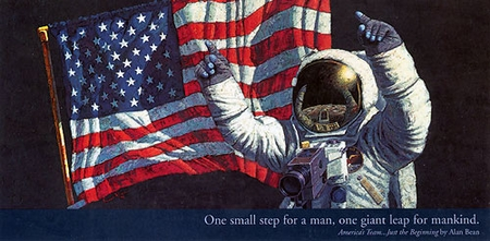 "Alan Bean Open Edition Lithograph Print on Paper :""America's Team - Just the Begining"""