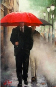 "Daniel Del Orfano Limited Edition Hand Embellished Giclee on Canvas:""Afternoon Walk "" - Click to enlarge"