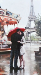 "Daniel Del Orfano Limited Edition Hand Embellished Giclee on Canvas:""Our Paris"" - Click to enlarge"