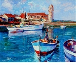 "Alex Perez Hand Signed and Numbered Limited Edition Acrylic on Canvas: "" Collioure Boats """