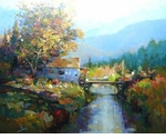 "Alex Perez Hand Signed and Numbered Limited Edition Acrylic on Canvas: "" The Mountain Mill """