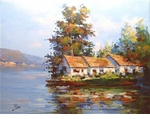 "Alex Perez Hand Signed and Numbered Limited Edition Acrylic on Canvas: "" Three Houses Lake """