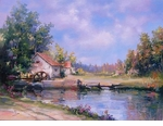 "Alex Perez Hand Signed and Numbered Limited Edition Oil on Canvas: "" Afternoon Mill View """