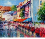 "Alex Perez Hand Signed and Numbered Limited Edition Oil on Canvas: "" Annecy Colors """