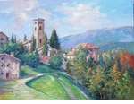 "Alex Perez Hand Signed and Numbered Limited Edition Oil on Canvas: "" Bassano Castle - Italy """
