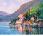"Alex Perez Hand Signed and Numbered Limited Edition Oil on Canvas: "" Lake Como View """
