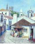 "Alex Perez Hand Signed and Numbered Limited Edition Oil on Canvas: "" Narrow Street in Portugal  """