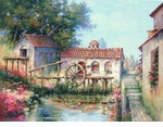 "Alex Perez Hand Signed and Numbered Limited Edition Oil on Canvas: "" Old Mill in Spain """