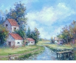"Alex Perez Hand Signed and Numbered Limited Edition Oil on Canvas: "" Riverside Houses """