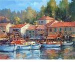 "Alex Perez Hand Signed and Numbered Limited Edition Oil on Canvas: "" Saint Andriaine Boats """