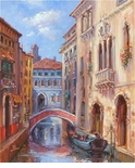 "Alex Perez Hand Signed and Numbered Limited Edition Oil on Canvas: "" Venetian Bridge """