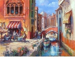 "Alex Perez Hand Signed and Numbered Limited Edition Oil on Canvas: "" Venetian Cafe """