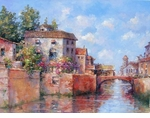 "Alex Perez Hand Signed and Numbered Limited Edition Oil on Canvas: "" Venetian Canal Corner """