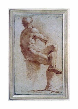 "Annibale Carracci Fine Art Open Edition Giclée:""A Male Nude Seated with His Back Turned"""