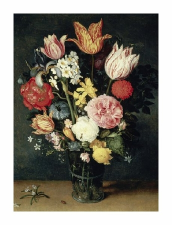 "Balthasar Van Der Ast Fine Art Open Edition Giclée:""Tulips, Roses and other Flowers in a Glass"""