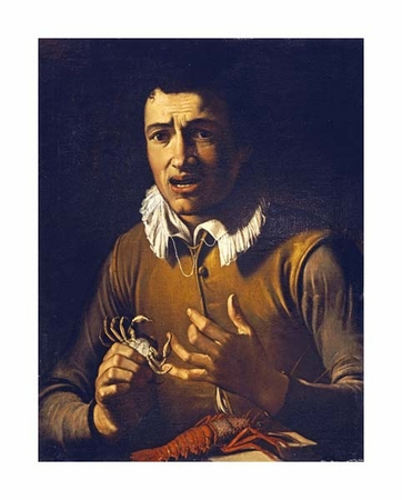 "Bartolommeo Manfredi Fine Art Open Edition Giclée:""Youth with a Crab Pinching His Finger"""