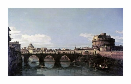 "Bernardo Bellotto Fine Art Open Edition Giclée:""View of the Tiber with the Castel Sant'Angelo"""