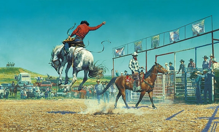 """Bob Coronato Handsigned and Numbered Limited Edition Print :""""Thems a Bunch-a Bronc  Stompn' ... Sun Fishn ... S.O.B'.s"""""""