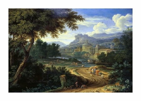 "Boudewyns Fine Art Open Edition Giclée:""Italian River Landscape with Herdsman and Cattle"""
