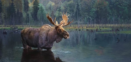 """Brent Townsend Hand Signed and Numbered Limited Edition Giclee on Paper :"""" Algonquin Bull Moose """""""
