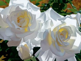 "Brian Davis Handsigned and Numbered Limited Edition Artist Embellished Giclee on Canvas:""White Roses Aglow"""