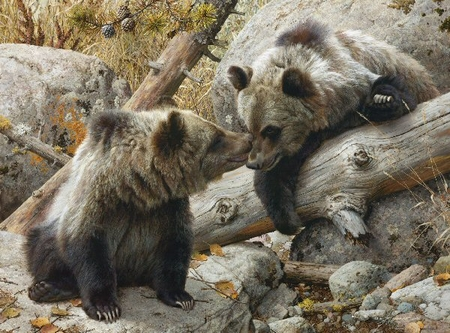 "Carl Brenders Hand Signed and Numbered Limited Edition Print and Canvas Giclee:""Alaska Chat"""