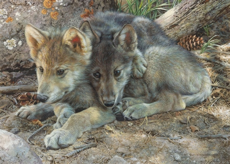 "Carl Brenders  Hand Signed and Numbered Limited Edition Print and Canvas Giclee:""Brotherly Love - Wolf Pups"""