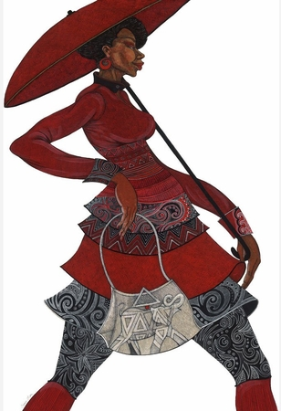 "Charles Bibbs Hand Signed and Numbered Limited Edition:""The Red Umbrella II"""