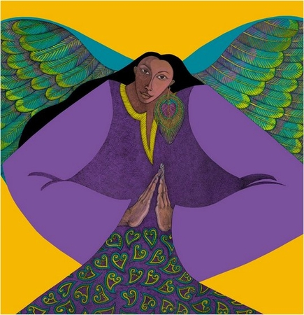 "Charles Bibbs & Synthia Saint James Limited Edition Giclee Print:""Angel Of Golden Light"""