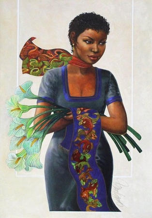 "Charles Bibbs Mixed Media Limited Edition Print: ""Camille"""