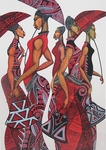 "Charles Bibbs Hand Signed and Numbered Limited Edition Giclee:""Parasol Red"""