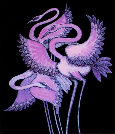 "Charles Bibbs Hand Signed and Numbered Limited Edition: ""Purple Long Leg Birds"""