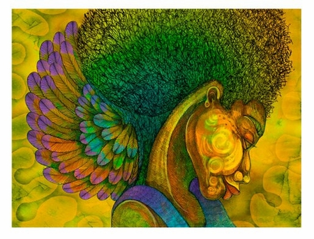 "Charles Bibbs Hand Signed and Numbered Limited Edition Giclee Print:""Afro Angel"""