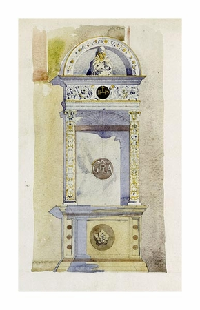 "Charles Rennie Mackintosh Fine Art Open Edition Giclée:""Certosa di Pavia, Study of a Jesuit Altar"""