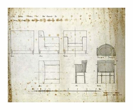 "Charles Rennie Mackintosh Fine Art Open Edition Giclée:""Designs for an Upholstered Chair, 1909"""