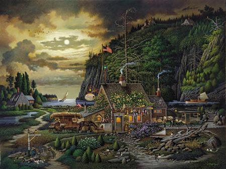 "Charles Wysocki Handsigned & Numbered Limited Edition:""Moonlight and Roses in Olde Maine"""