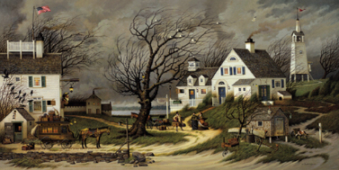 "Charles Wysocki Limited Edition Print: ""Checking In on Olde Martha's Vineyard"""