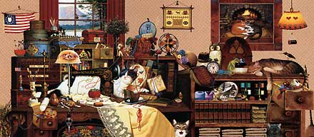 "Charles Wysocki  Open Edition Print:"" Yarn Duty"""