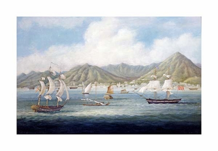 "Chinese School Fine Art Open Edition Giclée:""A View of Victoria, Hong Kong"""