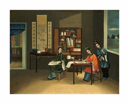 "Chinese School Fine Art Open Edition Giclée:""An Interior with a Woman Painting Flowers"""