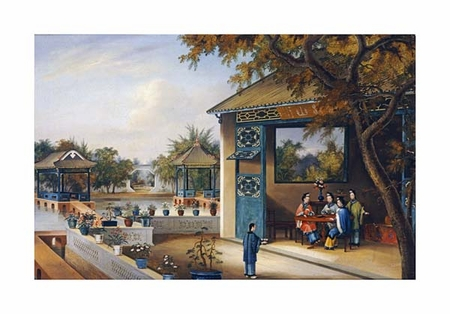 "Chinese School Fine Art Open Edition Giclée:""Chinese Ladies Playing Mahjong in the Pavilion of a House"""